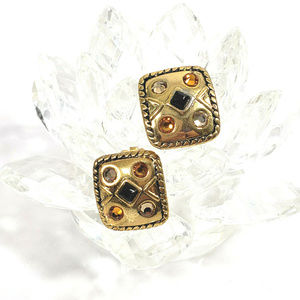 Chico's Gold Tone Clip Earrings Square Crystals
